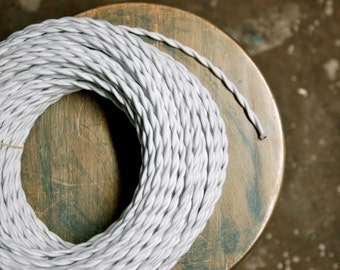 6 Feet: White Cotton Twisted Cloth Covered Wire, Vintage Style Cloth Lamp Cord, For Hanging Pendants, Trouble Lights etc