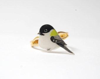 Hand drawn. Bird ring. Chickadee ring. Bird jewellery.