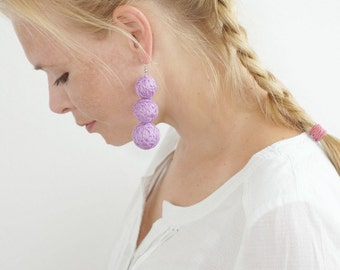 Lilac fabric earrings for women textile natural geometrical halloween autumn