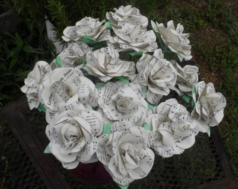 Mid Century Music Paper Roses made from old Hymnal Songs you love for your Rustic Wedding or Tablescape