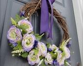 ON SALE Purple Spring Wreath, Spring Decor, Spring Wreaths, Floral Wreath