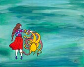 Girl and Octopus Friends Watercolor Painting ART PRINT