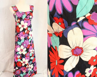 Hawaiian Medium Sleeveless Tank Flowery Vintage Maxi Dress Gown Red White Purple