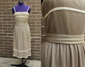 Tan and White Polka Dot Lilli Diamond of California Dress Matching Scarf and Belt