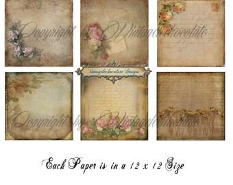 Digital Paper, Pink Rose Floral Scrapbook Paper, Floral Vintage Paper Pack, Shabby Chic Floral Digital Paper. P.638