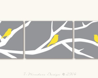 Birds on a Tree Branch Art Prints Modern Home Decor Set of (3) 5x7, 8 x10 or 11x14  // Gray, Yellow, White // UNFRAMED