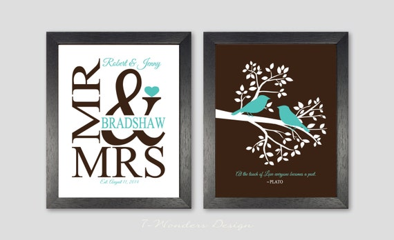 Wedding Gift Personalized Art Prints, Love Birds in a Tree, Mr & Mrs ...