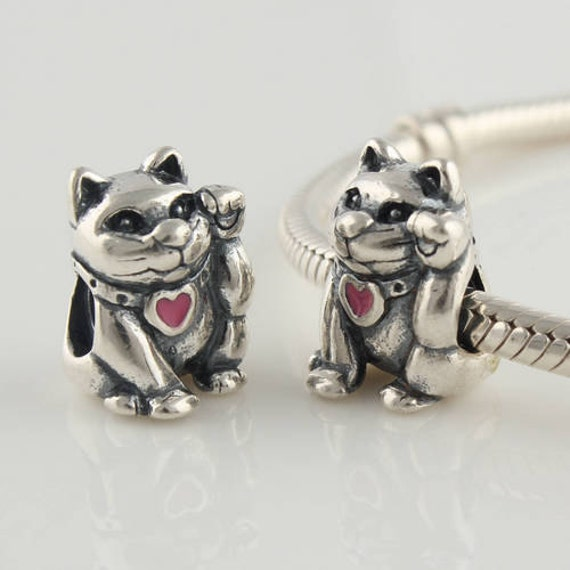 925 sterling silver lucky cat charm bead fits by
