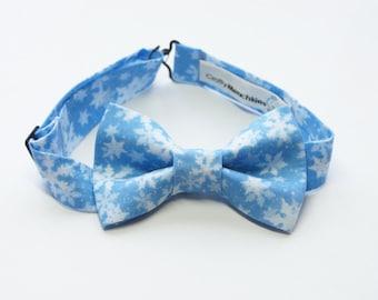Bow Tie - Blue Snow Flakes Bowtie