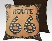 """18"""" X18"""" Photography to Digital Watercolor Painting Pillow Zippered Cover / Case """"Route 66"""". SUPER Luxurious Soft!"""