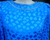 80's Dress Silk Turquoise Blue Beaded Draped Goddess Disco Wiggle Dress by AJ Bari Made in Hong Hong Size 6