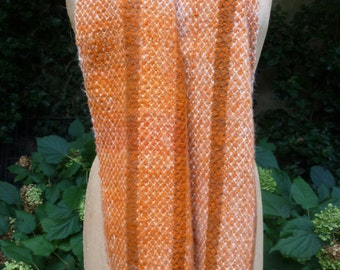 Vintage Scarf  Wool and Mohair With Fringe Hand Loomed Orange Wool Scarf 1970s