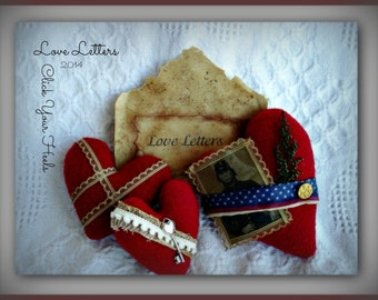 Love Letters Valentine Primitive E  Pattern Click Your Heels