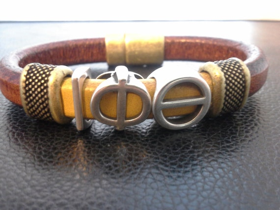 Divine 9 - IOTA PHI THETA Fraternity - Leather Bracelet - Jewelry - Greek- Paraphernalia-