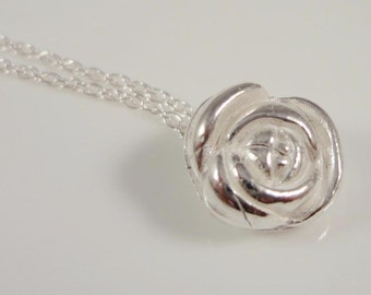 Fine silver rose pendant with chain