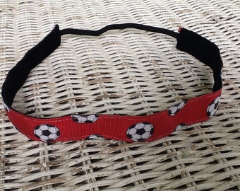Red Soccer Headband - Womens Sports Headband - Adjustable Headband - Kids Headband - Comfortable Headbands - Soccer Gift - Kids Headband