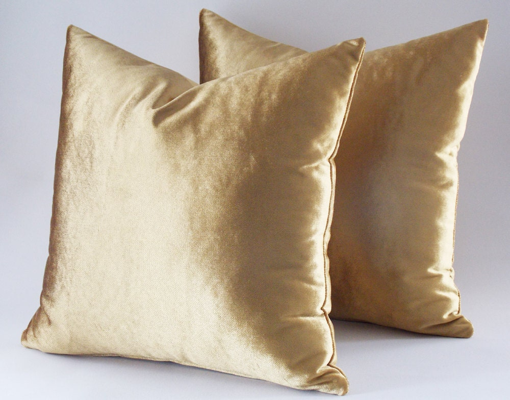 Set Of 2 / 22x22 Velvet Solid Gold Pillow Covers Decorative