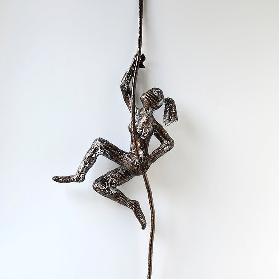 Wall Decor With Rope : Climbing woman on rope metal wall art home decor