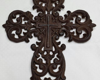 Large Cast Iron Cross Wall Hanging