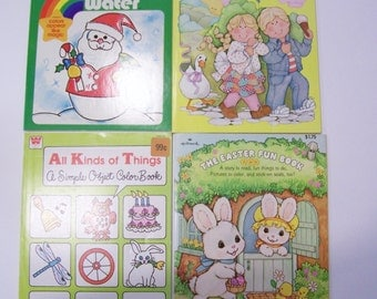 Coloring Books with Animals, Easter, Christmas, and Stickers Set of 4