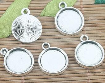 40pcs Tibetan silver round cameo cabochon settings EF1269
