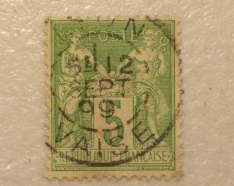 1898 France Postage Stamp, Scott # 104, 19th Century, 5 Francs