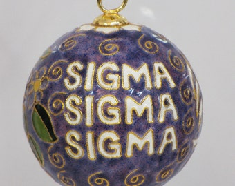 Tri Sigma Purple Original Cloisonne Ornament with 24k gold plating