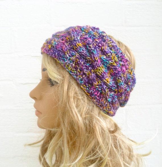 Women Knit Headband, Hand Knitted Cabled Headband, Purple Pink Yellow Ear Warmer. Women Ski Headband, Clickclackknits