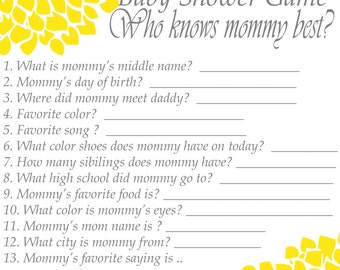 ... 263 New Baby Shower Game How Well Do You Know Mom 744 Popular Items For  Who ...
