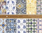 Digital Paper Tiles - Lisbon Mosaics II - Portuguese Wall Tiles Printable Sheets Digital Download, Scrapbooking, Cards, Invitations...