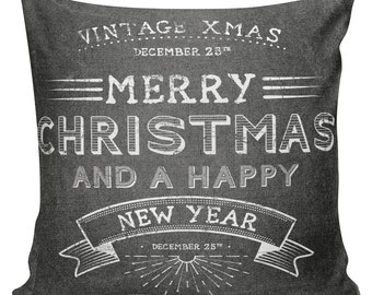Christmas Pillow Cushion Chalkboard Cottage Style Gift Cotton and Burlap Pillow Cover #CH0090 Holiday Elliott Heath Designs