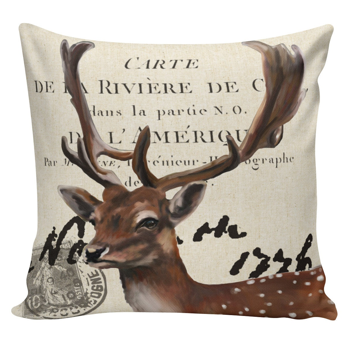 Throw Pillow In French : Christmas Pillow Throw Pillow Cover French by ElliottHeathDesigns