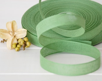 "Grass Cotton Ribbon - 3 or 6 Yards of 100% Cotton Ribbon - 1/2"" Wide - Eco Friendly Cotton Ribbon - Loose Weave Cotton Ribbon - Green Ribbon"