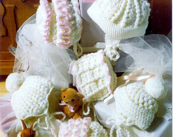 baby crochet pattern for   baby bonnets oys and girls prem to 6m