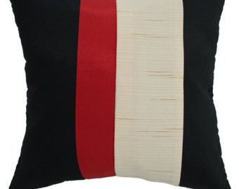 Avarada decorative pillow cover/case 16x16 40cmx40cm triple color black, red, white