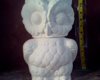 Arnels Owl Cookie Jar/ Cannister glazed inside / rim ready to paint