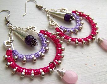 SALE// Two Tier Chandelier Earrings/ Lavender and Fuschia/ Bohemian/ Boho/ Amethyst and Pink Jade/ Purple and Pink/ Macrame Earrings