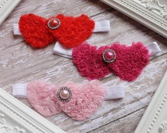 Valentines Heart Headband Baby Girl Headband Red Heart Headband Toddler Flower Headband Infant headband Newborn Headband Girls Headband
