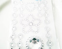 Deco Rhinestone sticker sparkling cell phone bling kawaii flower heart clear