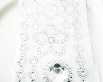 Deco Rhinestone sticker sparkling cell phone bling kawaii flower heart clear