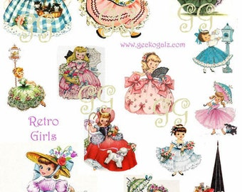 Retro Girls Collage Sheet