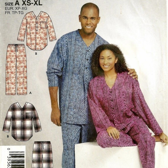 His And Hers Matching Christmas Pajamas: A His 'n Hers Pajamas Pattern: Long Sleeve By