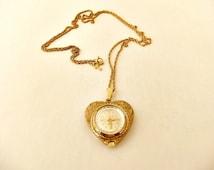 Vintage Plubel Gold Tone Watch Pendant Necklace 17 Jewels