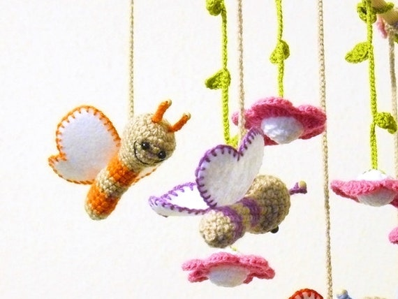 Baby Mobile Holz Schmetterling ~ butterfly baby mobile  crochet baby mobile crib mobile  nursery