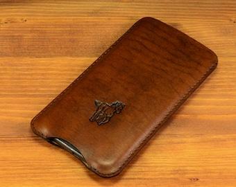 Samsung Galaxy S7/ S7 Edge/ S6/ S6 Edge/ S6 Edge Plus/ S5 Sleeve Antique Dark Brown Handmade Italian Leather Cover Sleeve Pouch Pocket Case