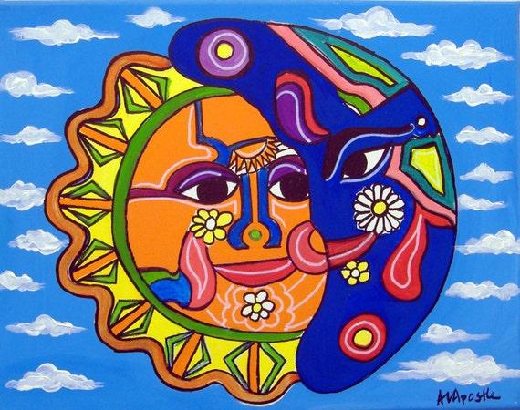 Mexican Folk Art SUN & MOON PRINT Signed By Artist