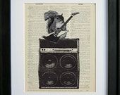 Rockin' Squirrel playing guitar printed on a page from an antique dictionary