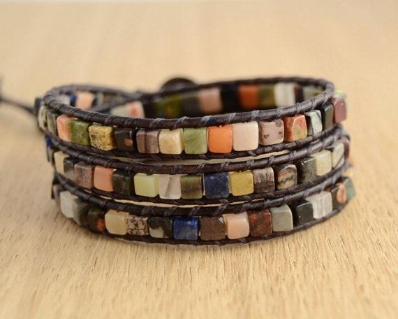 Cube bracelet. Multicolor wrap bracelet. Mixed color beaded leather bracelet -Made to order-