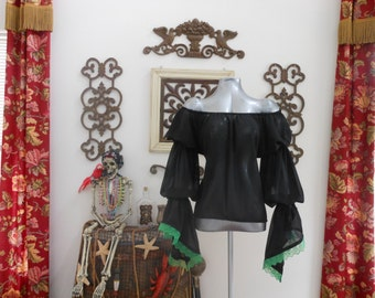 Black Sheer Pirate Renaisssance Chemise Shirt With Green Lace Trim. Other Colors Available.