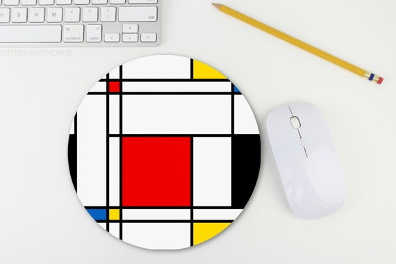 Mondrian Print Mouse Pad / Retro Print Mousepad / Mouse Pad / Mat